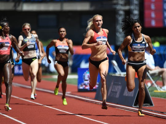 Alysia Montano (left) and Molly Ludlow (middle) and Brenda Martinez (right) compete during the women's 800m semifinals in the 2016 U.S. Olympic track and field team trials at Hayward Field.