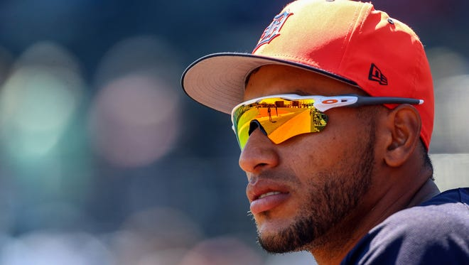 Mar 13, 2018; Tampa, FL, USA; Detroit Tigers outfielder Victor Reyes watches during the first inning against the New York Yankees at George M. Steinbrenner Field.