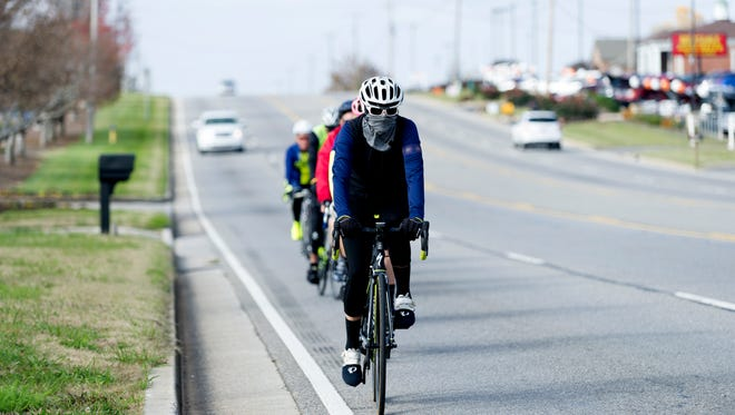 Bikers ride down Lamar Alexander Parkway during a group bike ride in Maryville, Tennessee on Tuesday, November 14, 2017. Knox Regional TPO created a map of all walker/biker accidents with cars and found that Alcoa has the most per capita.