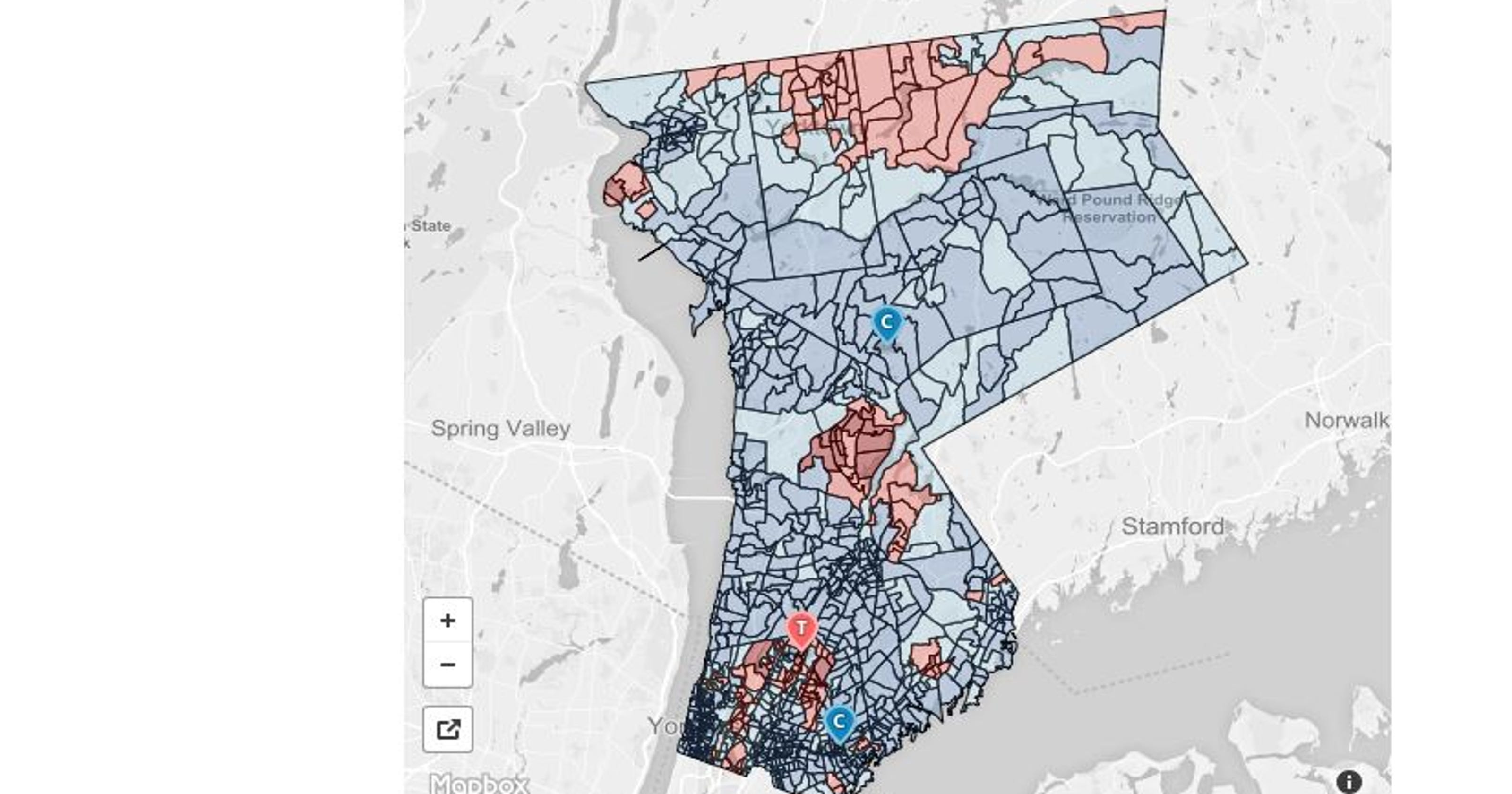 Presidential election results map: Westchester County