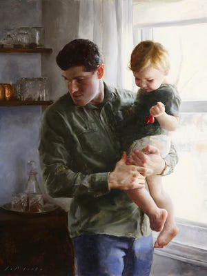 """Morgan LaPlante's """"Steadfast"""" 28 inches by 22 inches, oil on linen, part of the Bowersock Gallery's ."""