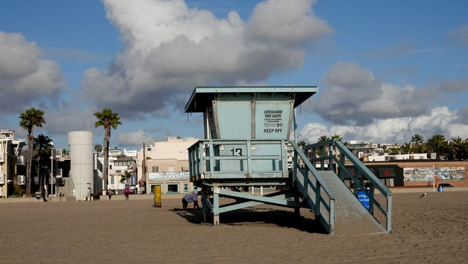A lifeguard station in Hermosa Beach on a cloudy day.