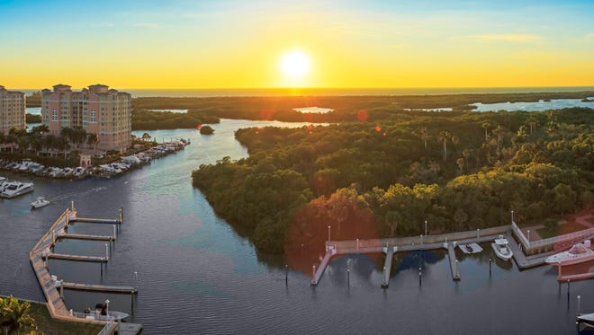 A rooftop sky lounge and terrace offer vistas of the Gulf of Mexico, beaches, Wiggins Bay and mangrove-lined estuaries from AQUA at Pelican Isle.