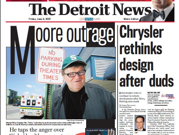 View the front page of The Detroit News each day of the week of June 4, 2007.
