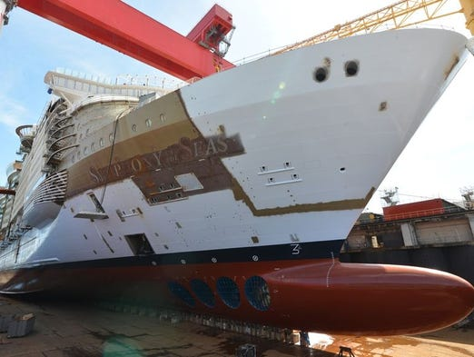 Royal Caribbean's Symphony of the Seas in a dry dock