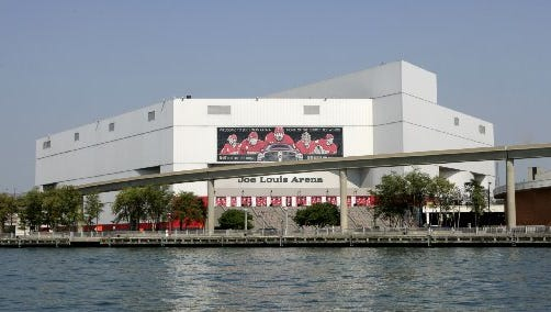Exterior of Joe Louis Arena as seen from the Detroit River.