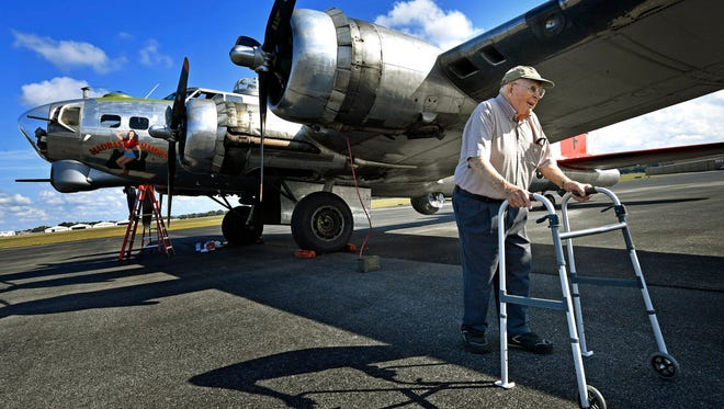 """Ninety four year old WW II veteran Bob Boggild came out to ride in one of the last remaining B-17 World War II-era planes, the ÒMadras MaidenÓ  but because of mechanical problems he wasn't able to fly on Monday. """"It's a disappointment"""" Bob said. """"I was looking forward to feeling the vibration of the plane one more time.""""Monday Oct. 9, 2017, in Smyrna, TN"""