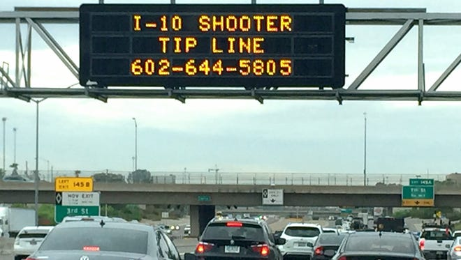 An interstate sign above I-10 asked for anybody that had information about the shootings along I-10 to call the local tip line.