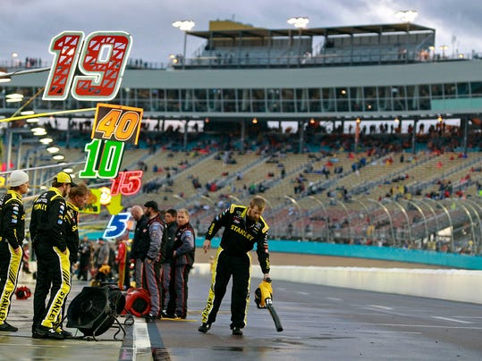 A pit crew member for Carl Edwards uses a leaf blower to dry the team's pit stall at the NASCAR Sprint Cup Series auto race at Phoenix International Raceway, Sunday, Nov. 15, 2015, in Avondale, Ariz. (AP Photo/Ralph Freso)