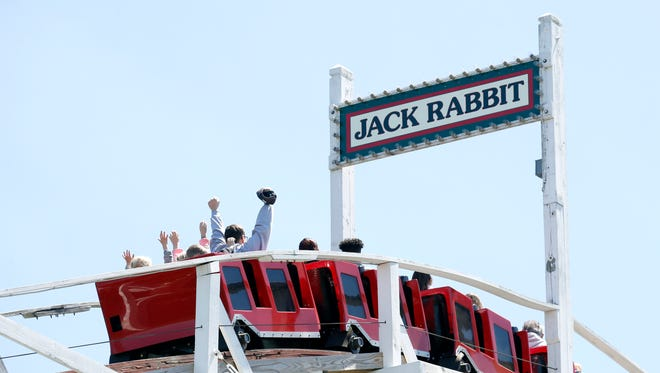 The Jack Rabbit is still a favorite amongs many visitors like the ones seen here during opening day at Seabreeze Amusement Park.