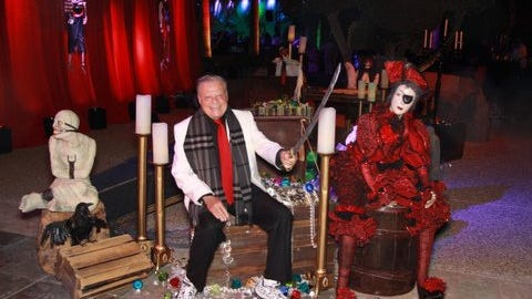 Friend and fellow philanthropist Harold Matzner enjoyed the pirates treasure chest at the spooky entrance to the Houston Halloween party.