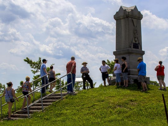 Guest listen to a ranger presentation at Gettysburg National Military Park.