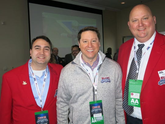 Walk-On's Independence Bowl Foundation Veep Vince Giglio, Walk-On's founder Brandon Landry, Bowl Chairman Darin Seal pause to pose at the Sky Box fete.