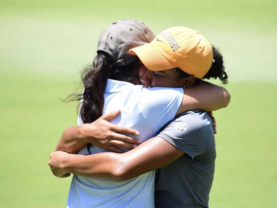 Clarksville native and Lady Vols golfer Mariah Smith celebrates after winning the 86th annual Tennessee Women's Amateur Championship.