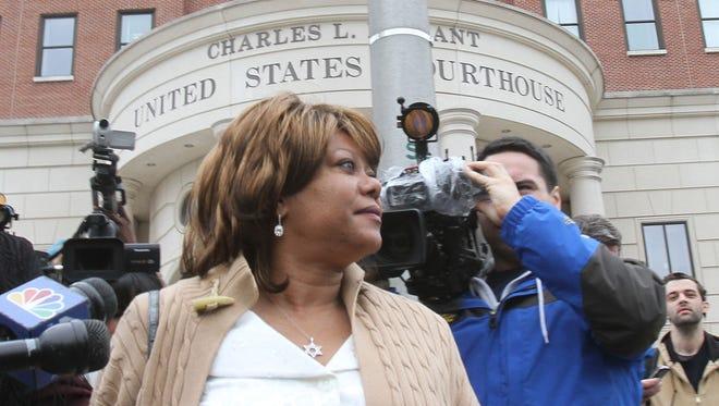 Spring Valley Mayor Noramie Jasmin after her her arraignment April 23, 2013.