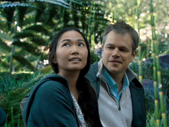 "Hong Chau and Matt Damon appear in a scene from ""Downsizing."""