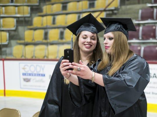 Gwen and Audrey Taft of CCV-Rutland snap a selfie at at the graduation Saturday.