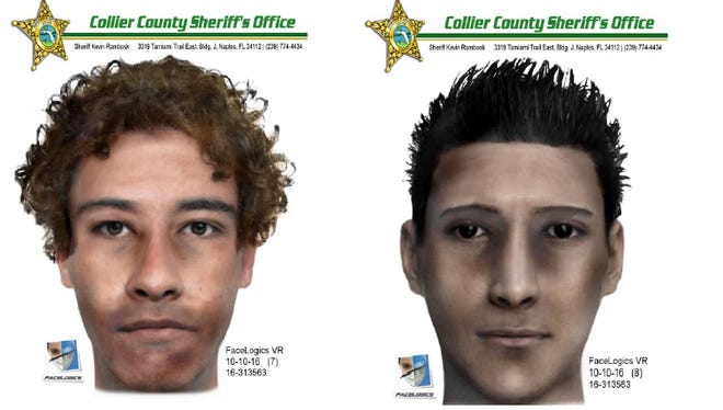 Sketches of two carjacking suspects who robbed a jeweler at gunpoint on Oct. 5.