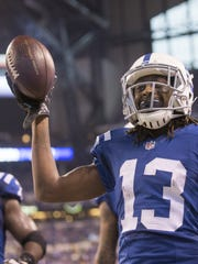 Indianapolis Colts wide receiver T.Y. Hilton (13) celebrates a fourth quarter touchdown against the Tampa Bay Buccaneers.