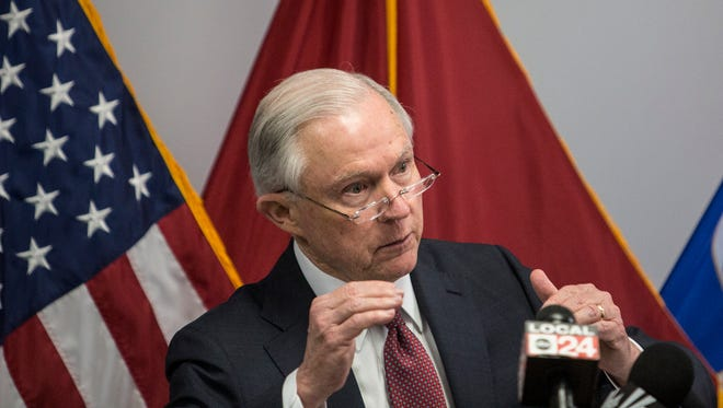 Speaking to about 100 people at the U.S. District courthouse in Memphis, U.S. Attorney General Jeff Sessions expressed appreciation for law enforcement and addressed violent crime May 25, 2017.