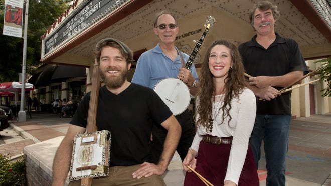 Andrew Kenefick, left, Dennis Mack, Ayla Draper, Eric Anderson and other teachers from Grace Note will perform in Band Together, a benefit concert for CASA and the Creative Center at 7:00 p.m. in the Fox Theatre on June 10. Wednesday, May 25, 2016.