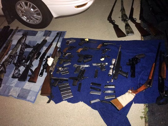 A drug bust in Bartholomew County on Thursday, Aug. 3, uncoveredan active meth lab, a pot-growing operation, nearly a hundred guns and home-made explosives, according to Indiana State Police.