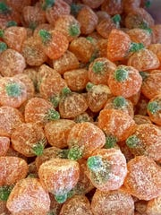 Samuel's Sweet Shop in Rhinebeck features bulk candy for Halloween, such as these sugared pumpkins.