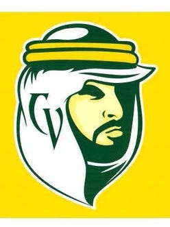 The new school logo is also the face of an Arab man, but its looks are vastly different from its predecessor. The face is  half-covered in shadow. Gone are the villainous scowl and the single tooth. This image is of a stoic, strong-jawed man with a neatly trimmed beard.