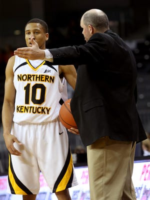 Former Norse head coach Dave Bezold with guard Tyler White. Bezold was fired after the 2014-15 season.