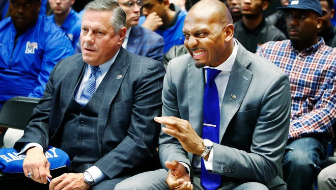 The University of Memphis announces former Tigers star Penny Hardaway (center) as its new men's basketball coach during a Tuesday morning news conference at the Laurie-Walton Family Basketball Center.