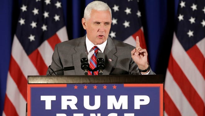 Republican vice presidential candidate Gov. Mike Pence, R-Ind., addresses supporters during a campaign event in Novi, Mich., Thursday, July 28, 2016.