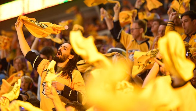 Preds fans cheer during the first  period of game 3 of the Western Conference finals at Bridgestone Arena Tuesday, May 16, 2017 in Nashville, Tenn.