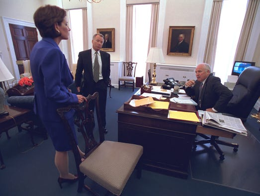 "Vice President Cheney Talks with I. Lewis ""Scooter"""