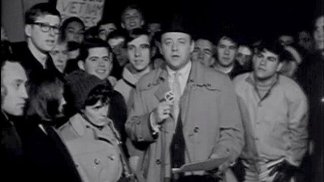 Newsman Bill Bonds speaking about the student Teach-In held in March 1965 on the campus of the University of Michigan.