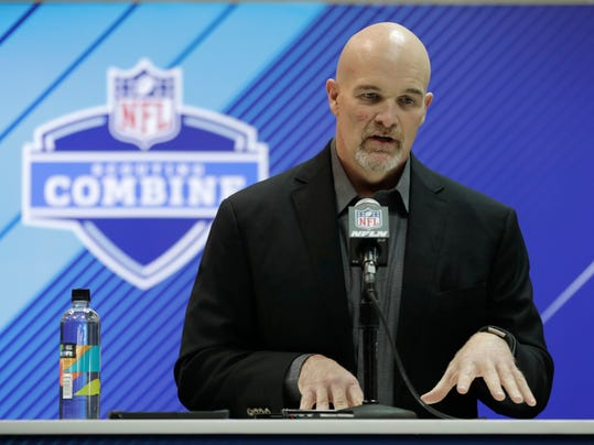 Atlanta Falcons head coach Dan Quinn speaks during a press conference at the NFL football scouting combine in Indianapolis, Wednesday, Feb. 28, 2018. (AP Photo/Michael Conroy)