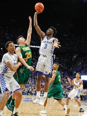 Nov 12, 2017; Lexington, KY, USA; Kentucky Wildcats guard Hamidou Diallo (3) shoots the ball against Vermont Catamounts guard Ernie Duncan (20) in the second half at Rupp Arena. Kentucky defeated Vermont 73-69.