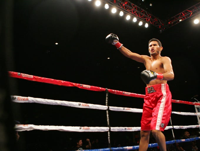 Angel Osuna had a seven-year career as a professional boxer. He was on the verge of acquiring a contract with Golden Boy but with 52 seconds left in the 10th and last round of a fight versus Hugo Centeno, and winning the fight on all three judges cards, Osuna suffered a KO and nearly lost his life do to a major brain injury. Below are the original captions of the fights.  In red Trunks Angel Osuna, of Coachella Boxing Club against Eddie Hunter of Seattle, Washington during Solo Boxeo on Telefutura at the Fantasy Springs Casino on July 28, 2012. Osuna won and now has a record of 9 wins 3 losses and 1 draw with 5 KO's.
