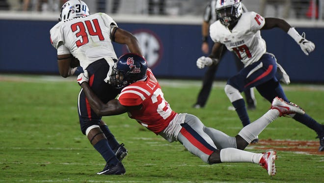 Ole Miss defensive back C.J. Moore (26) led the team with eight tackles against South Alabama, which was his first career start.