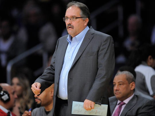 Pistons coach Stan Van Gundy watches game action against the Lakers during the first half Sunday in Los Angeles.