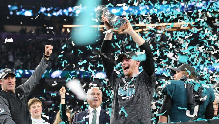 Philadelphia Eagles quarterback Carson Went celebrates
