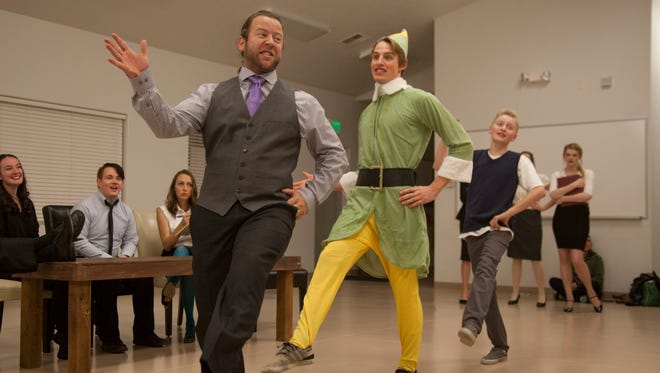 """Members of the Stage Door Company rehearse for their upcoming performance of """"Christmas on Broadway"""" Tuesday, Dec. 1, 2015. The show opens Dec. 10 in The Electric Theater in St. George."""