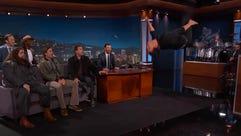 Taylor Lautner flips.