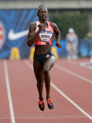 Tori Bowie, a former Southern Miss star, wins her heat during qualifying for the women's 200-meter run at the U.S. Olympic Track and Field Trials Friday in Eugene Oregon.