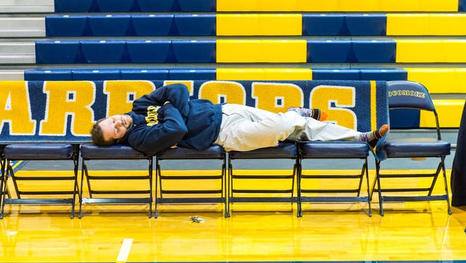 Pocomoke vice principal Matt Record takes a break during the filming of a Snow Day video to be produced by the Pocomoke communications class on Friday, March 3 in Pocomoke.