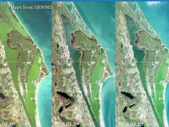This satellite photo shows the similarity between this year's algae bloom and a bad bloom in 2016 that caused the worst fish kill on record in the Indian River Lagoon.