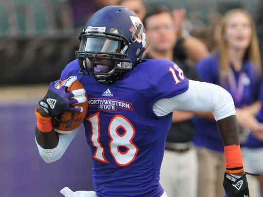 Former Northwestern State star cornerback Imoan Claiborne (18) returns an interception during his junior season with the Demons. Claiborne is one of the more decorated defensive backs in NSU history, finishing his career with six interceptions and more than 100 tackles while earning Southland Conference first-team honors and being named an FCS All-American.