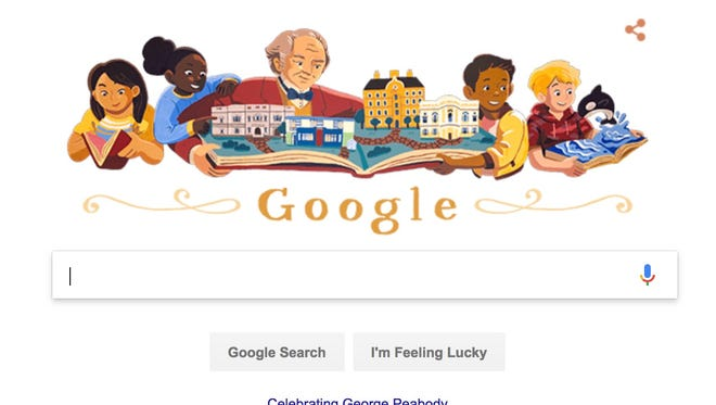 Google honors George Peabody, considered 'the father of modern philanthropy.'