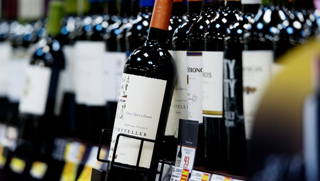 A bottle of wine sits on display shelf at Kroger Market Place, 9225 Kingston Pike in Knoxville.