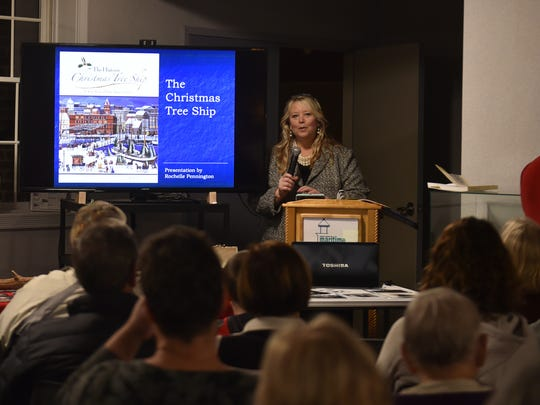 Rochelle Pennington talks about many of the stories surrounding the fabled Christmas Tree Ship that sank in Lake Michigan in 1912 at the Door County Maritime Museum on Thursday.