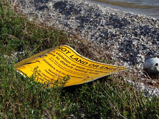 About 120 signs posted on or near rookery islands were swept away by the storm.